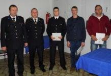 Nagrađeni vatrogasci sa predstavnikom VZMŽ Robertom Pevec (prvi s lijeva), predsjednik DVD-a Alen Novak, Luka Meglić,Karlo Horvat i Tomislav Kovačić