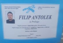 Filip Antolek osmrtnica