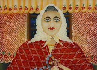 Đurđica Balog, Žena moli krunicu, 2003., uljestaklo, foto Voge arts