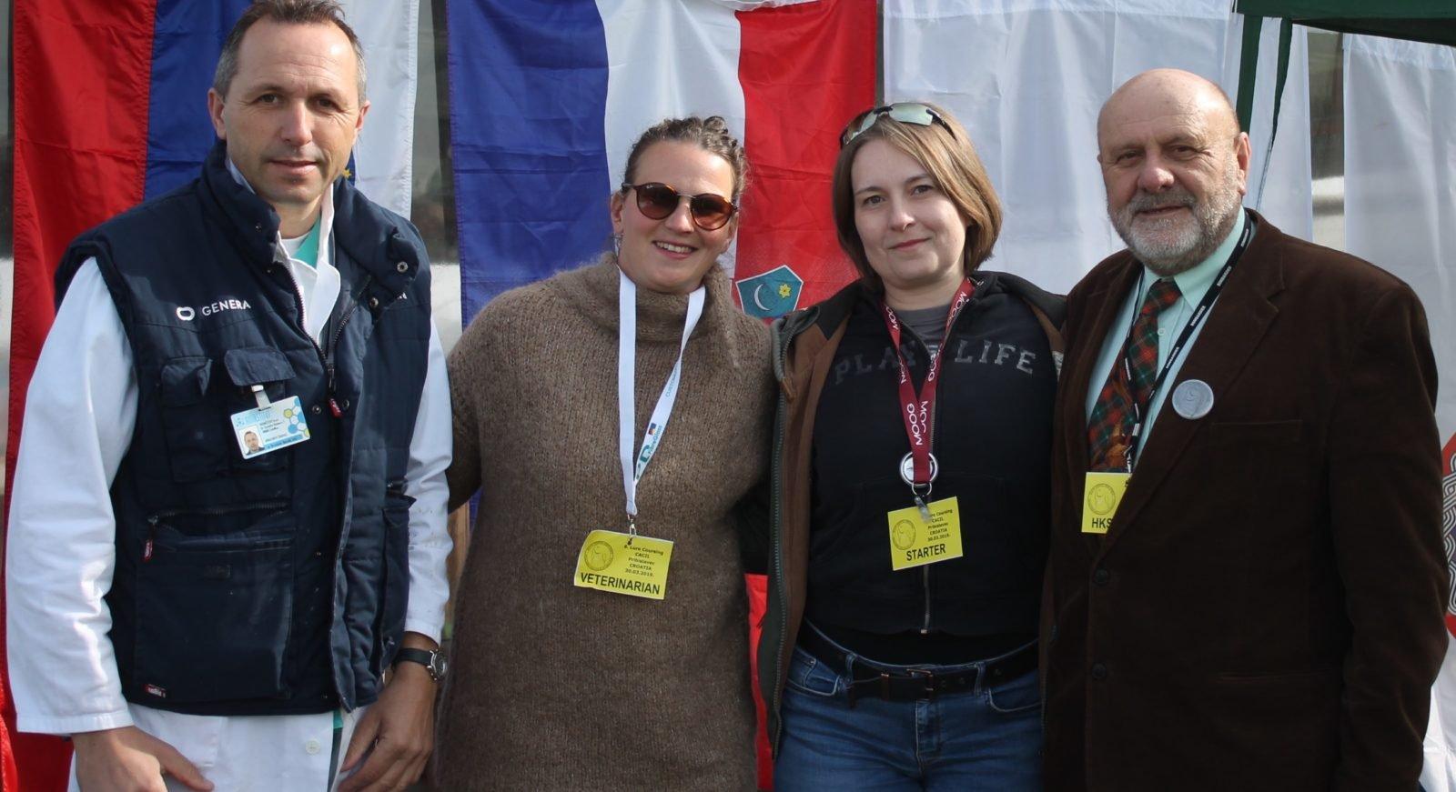 nadležni veterinar Branimir Novak, predsjednica Kluba Lea Slunjski, Tajnica Kluba Sonja Mjher i delegat kinološkog saveza Dražen Kipke