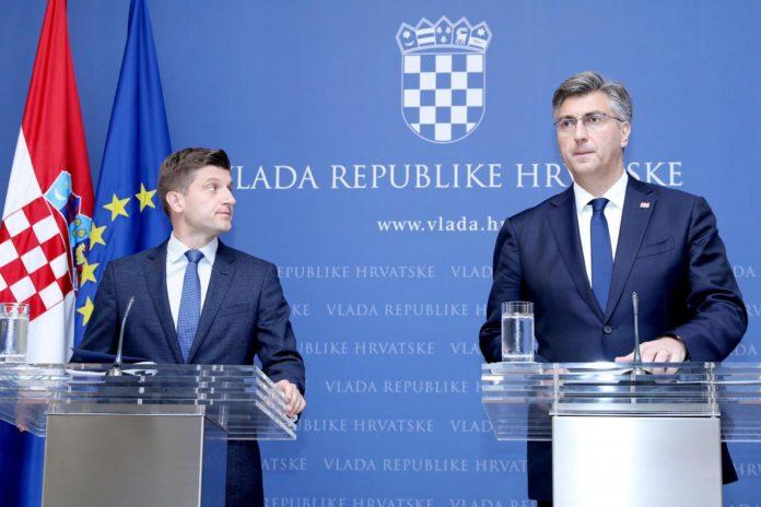 26.07.2019., Zagreb - Andrej Plenkovic i Zdravko Maric na konferenciji za medije predstavili cetvrti val porezne reforme. Photo: Patrik Macek/PIXSELL