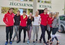 trener Ingmar (lijevo) i hrvatski reprezentativci u brzom klizanju