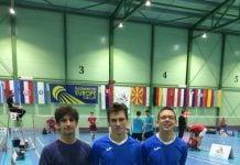 adminton naši Luka, Borna i Ivan u dresu reprezaentacije u19 u Slovačkoj
