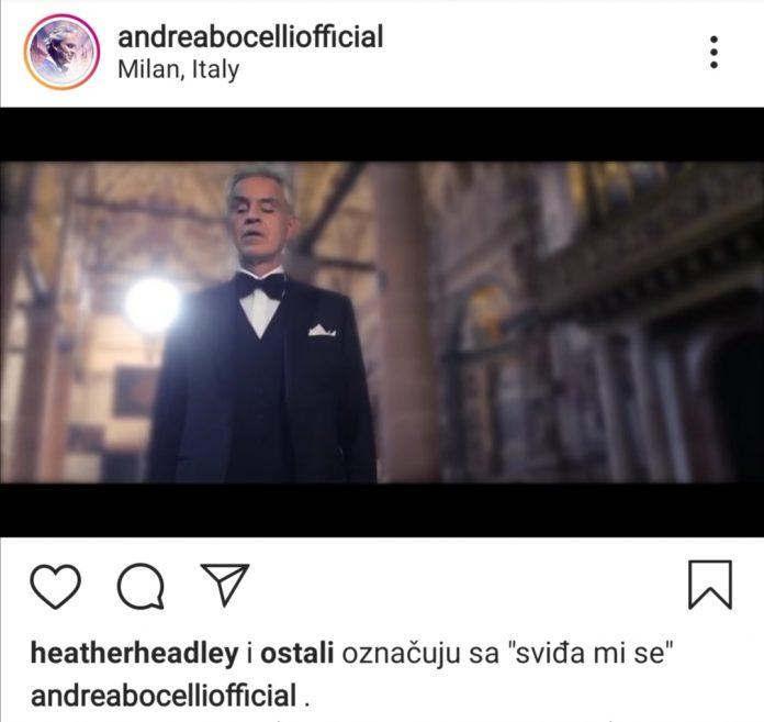 Andrea Bocelli Instagram, screenshot